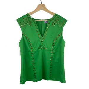 Eden Sleeveless Green Top with Gold Embellishments